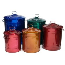5 Piece Galvanized Storage Container Set