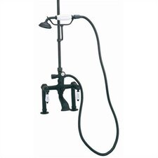 "Deck Mount Tub Faucet with Hand Shower and ""Hot"" & ""Cold"" Porcelain Lever Handles for Shower System"
