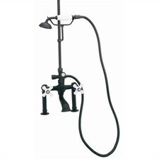 Deck Mount Tub Faucet with Hand Shower and Porcelain Cross Handles for Shower System