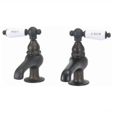 Bathroom Faucet Set with Hot And Cold Porcelain Lever Handles