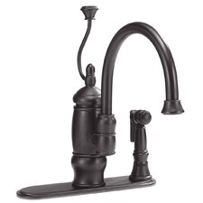 Deck Mount One Handle Centerset Kitchen Faucet with Spiral Handle and Attached Side Spray