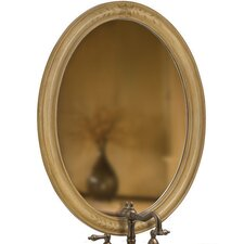 Single Oval Mirror in Light Brown