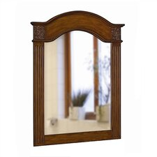 Single Carved Portrait Mirror in Vintage Oak