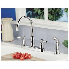 Harbor Two Handle Centerset Kitchen Faucet with Side Spray