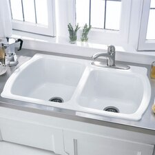 "Chandler 36"" x 22"" Americast Double Bowl Kitchen Sink"