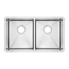 "Prevoir 29"" x 18"" Stainless Steel Undermount Double Bowl Kitchen Sink"