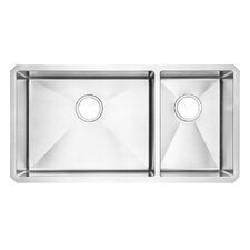"Prevoir 35"" x 18"" Stainless Steel Undermount Combo Double Bowl Kitchen Sink"