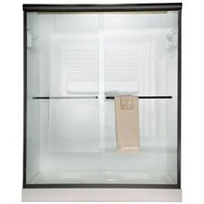 Euro Frameless Bypass Shower Door with Bistro Glass