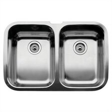"Supreme 32"" x 20.88"" x 8"" Equal Double Bowl Undermount Kitchen Sink"