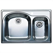 "Wave Plus 33"" x 22"" Plus Bowl Drop-In Kitchen Sink"