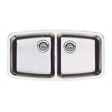 "Performa 33.13"" x 17.5"" Small Double Bowl Kitchen Sink"