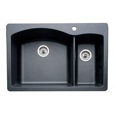 "Diamond 33"" x 22"" Bowl Drop-In Kitchen Sink"