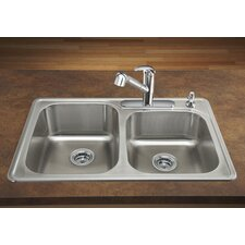 "Spex II 33"" x 22"" Double Bowl Self-Rimming Kitchen Sink"
