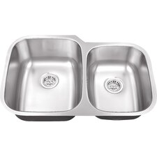 "<strong>Schon</strong> 30"" x 18.75"" Double Bowl 18 Gauge Kitchen Sink"