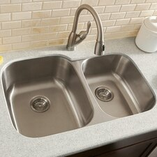 "30"" x 18.75"" Double Bowl 16 Gauge Kitchen Sink"