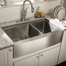 "34"" x 18.5"" Double Bowl Farmhouse Kitchen Sink"