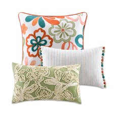 Martinique Floral Design Decorative Pillow (Set of 3)