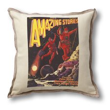 Classic Sci-fi Illustration Amazing Stories Pillow Cover - Astronauts