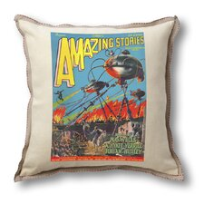 Classic Sci-fi Illustration Amazing Stories Pillow Cover - War of the Worlds