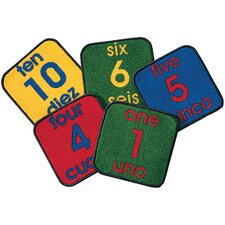 Carpet Kits Printed Bilingual Number Tile Kids Rug (Set of 10)
