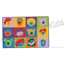 Printed Friendly Faces Infant Toddler Kids Rug