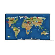 Printed Continental Wonders Blue Area Rug