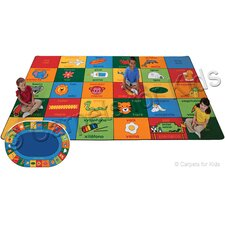 Printed Bilingual Alphabet Blocks Area Rug