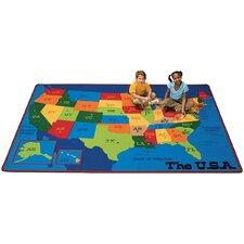 Printed USA Learn and Play Kids Rug