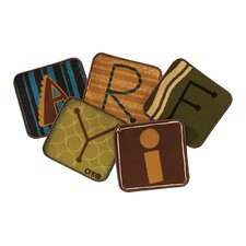 Toddler Alphabet Blocks Nature Rug Squares (Set of 26)