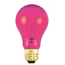 25W Transparent A19 Incandescent Bulb in Pink