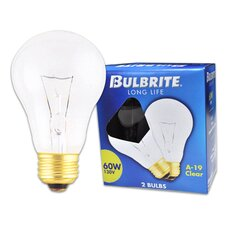 60W Long Life General Service Standard A19 Incandescent Bulb in Clear (Pack of 2)