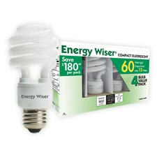 13W Compact Fluorescent T3 Coil GU24 Base Bulb (Pack of 4)