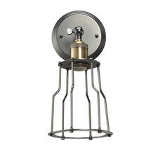 Nostalgic Vintage 1-Light Wall Sconce with Industrial Cage
