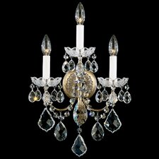 New Orleans Wall Sconce in Antique Silver with Handcut Crystals