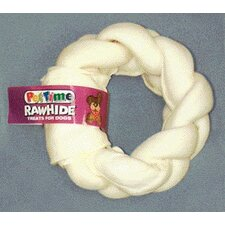 "9"" Pestime Rawhide Braided Donut Dog Treat"