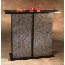 Americus Black & Marble Glass-Top Bar