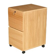 Modular Real Oak Wood Veneer  Two-Drawer Mobile File Cabinet
