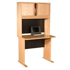 "Modular Real Oak Wood Veneer 36"" W Panel Office Computer Desk Suite"