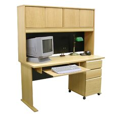 Modular Real Oak Wood Veneer Standard Computer Desk Office Suite