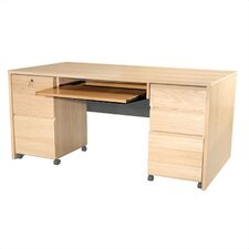 <strong>Rush Furniture</strong> Modular Real Oak Wood Veneer Panel Executive Desk Keyboard Tray
