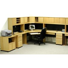 <strong>Rush Furniture</strong> Office Modulars Corner Desk Office Suite with Machine Cart