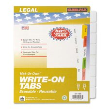 "<strong>Kleer-Fax, Inc.</strong> Write-On Tabs,Erasable,Reusable,3HP,8-Tabs,11""x8-1/2"",White"