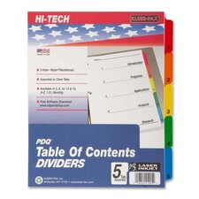 "Index Dividers, 1-5 Tabs, 3HP, 11""x8-1/2"", Assorted"
