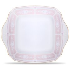 "Lacewood Gold Pink 11"" Square Plate"