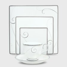 Platinum Wave 5 Piece Square Place Setting