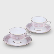 <strong>Noritake</strong> Lacewood Gold 8 oz. Cup and Saucer (Set of 2)