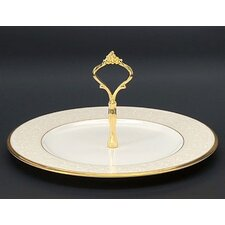 White Palace Handled Hostess Round Serving Tray