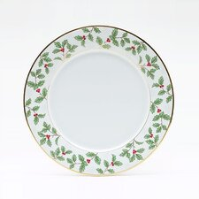 "Holly and Berry Gold 10.5"" Dinner Plate"