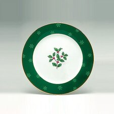 "Holly and Berry Gold 9"" Accent Plate"
