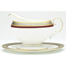 Ruby Coronet Gravy Boat with Tray